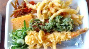 3種の天ぷらと定番おかず弁当